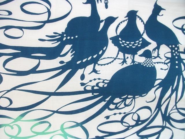 画像1: 手ぬぐい 極楽鳥 若竹色×孔雀青