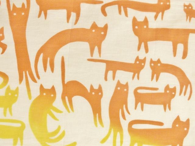 画像2: 【期間限定販売】手ぬぐい ねこネコ猫 黄×橙