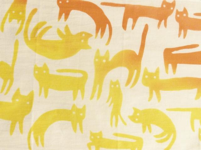 画像1: 【期間限定販売】手ぬぐい ねこネコ猫 黄×橙