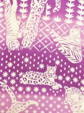 画像1: 手ぬぐい ネコカキリコ 紫 (1)