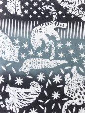画像2: 手ぬぐい ネコカキリコ 黒 (2)