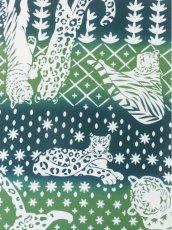 画像1: 手ぬぐい ネコカキリコ 緑 (1)