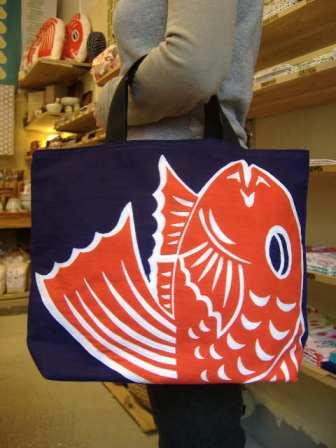 画像1: 岩川旗店の鯛トート 中