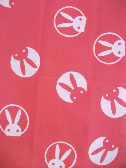 画像1: 手ぬぐい うさぎ ピンク