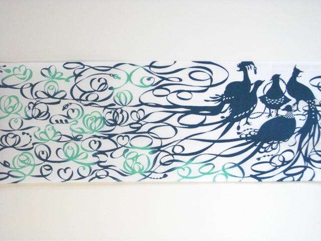 画像3: 手ぬぐい 極楽鳥 若竹色×孔雀青