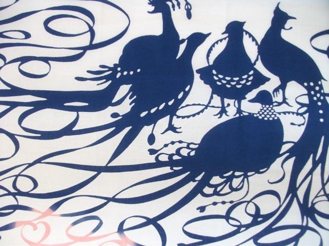 画像1: 手ぬぐい 極楽鳥 ピンク×群青