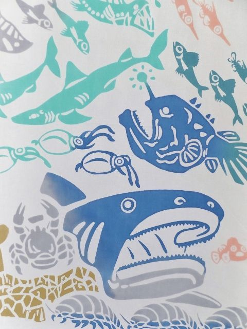 画像1: 手ぬぐい 深海魚 (1)
