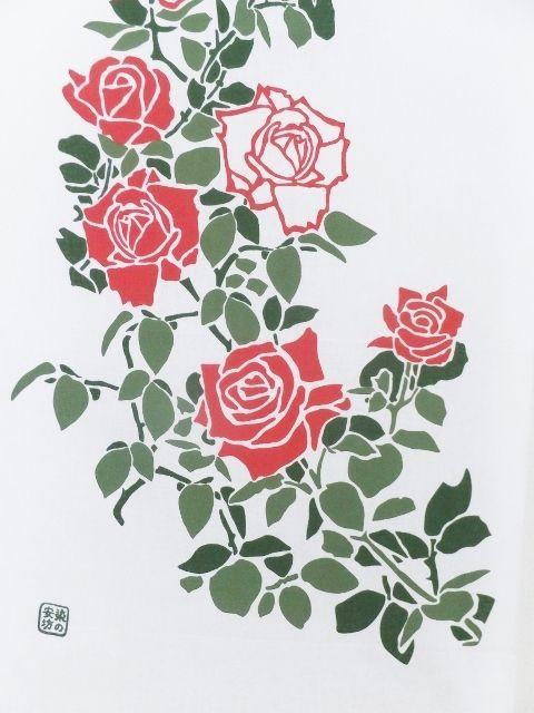 画像1: 手ぬぐい 庭にバラ