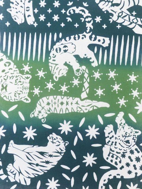 画像2: 手ぬぐい ネコカキリコ 緑