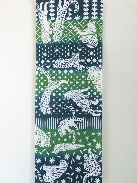 画像3: 手ぬぐい ネコカキリコ 緑