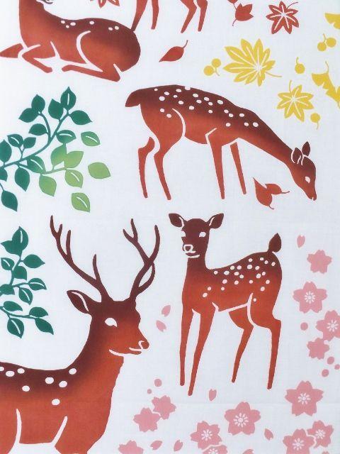 画像2: 手ぬぐい 鹿の棲む森