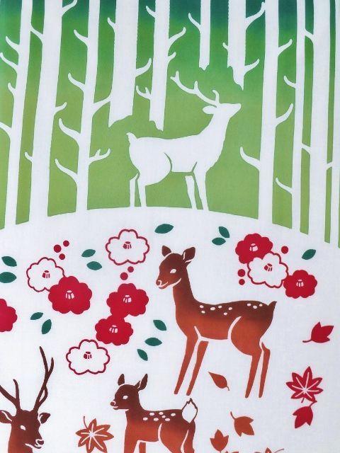 画像1: 手ぬぐい 鹿の棲む森