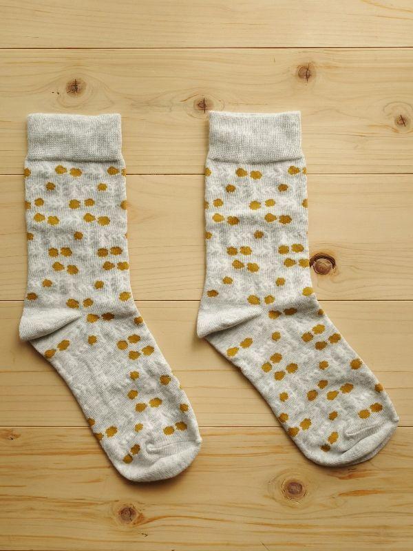 画像1: 星燈社の丸編み靴下 花格子