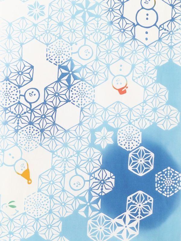 画像1: 手ぬぐい 麻雪だるま