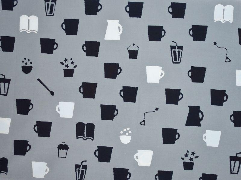 画像1: 手ぬぐい カフェ グレー