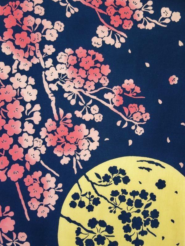 画像1: 手ぬぐい 月夜桜 (1)