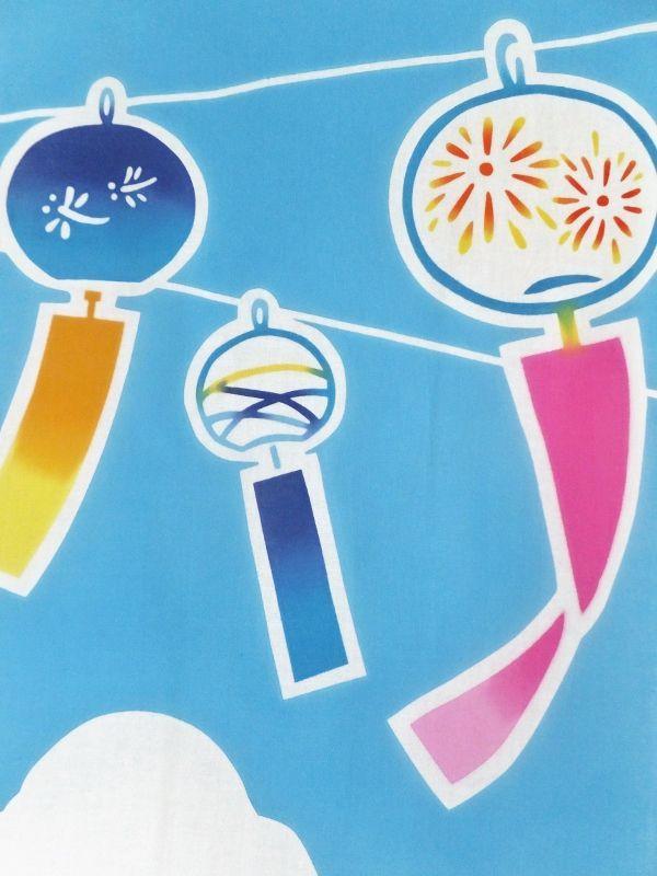 画像1:  【お買い得 20%OFF】 手ぬぐい 風鈴とあさがお (1)