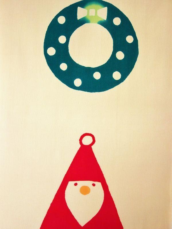 画像1: 手ぬぐい 三角サンタ (1)