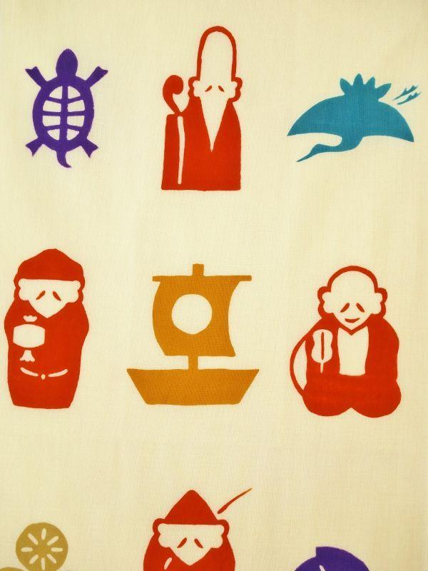 画像1:  【ラスイチ】 手ぬぐい 七福神 福づくし (1)
