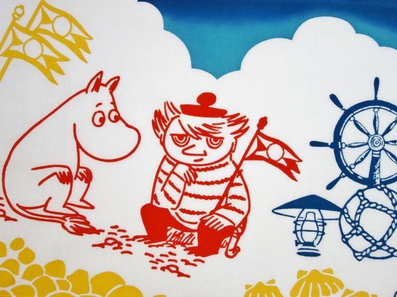 画像1: ムーミン手ぬぐい ムーミン&マリン (1)