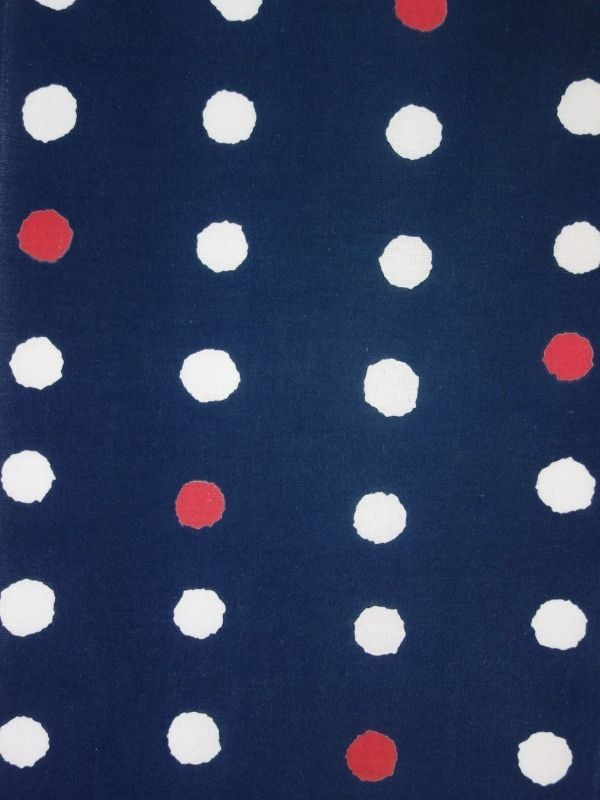 画像1: 藍捺染手ぬぐい 赤玉 (1)