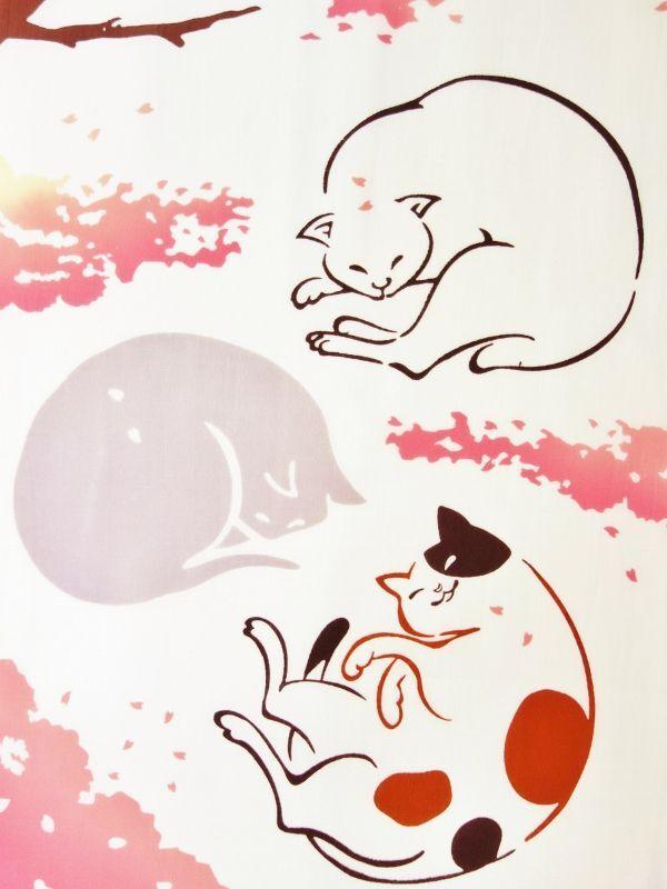 画像1: 手ぬぐい お花見猫 (1)