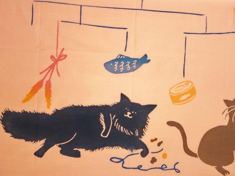 画像1: 手ぬぐい 猫とモビール ピンク (1)
