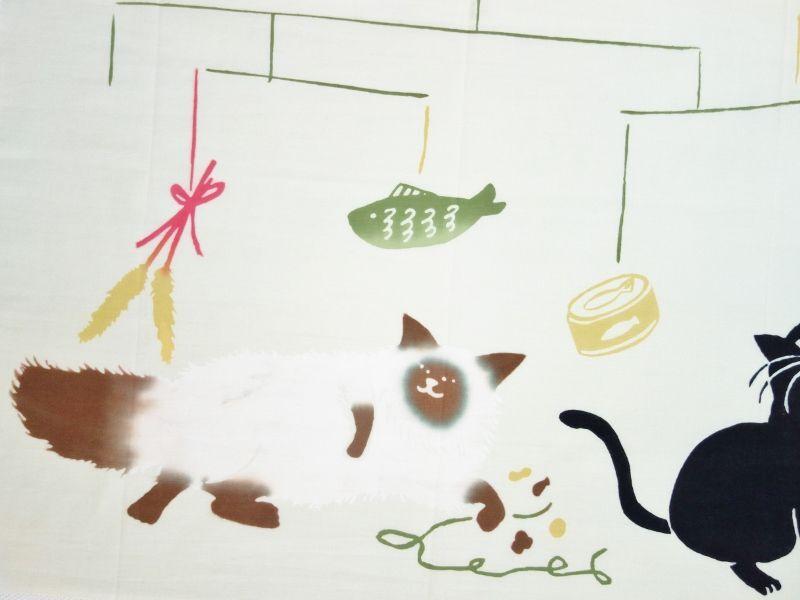 画像1: 手ぬぐい 猫とモビール ライトグリーン (1)