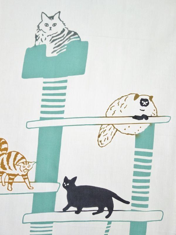画像1: 手ぬぐい cat tower グレー (1)