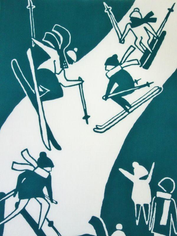 画像1: 新潟手ぬぐい スキー (1)