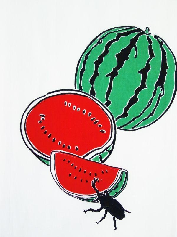 画像1: 手ぬぐい 美味しいね西瓜 (1)