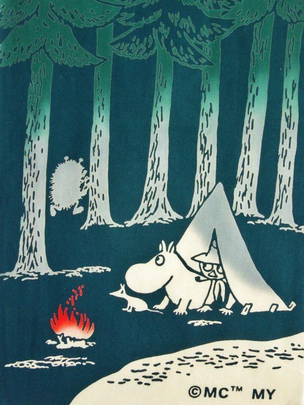 画像1: ムーミン手ぬぐい スナフキン&キャンプ (1)